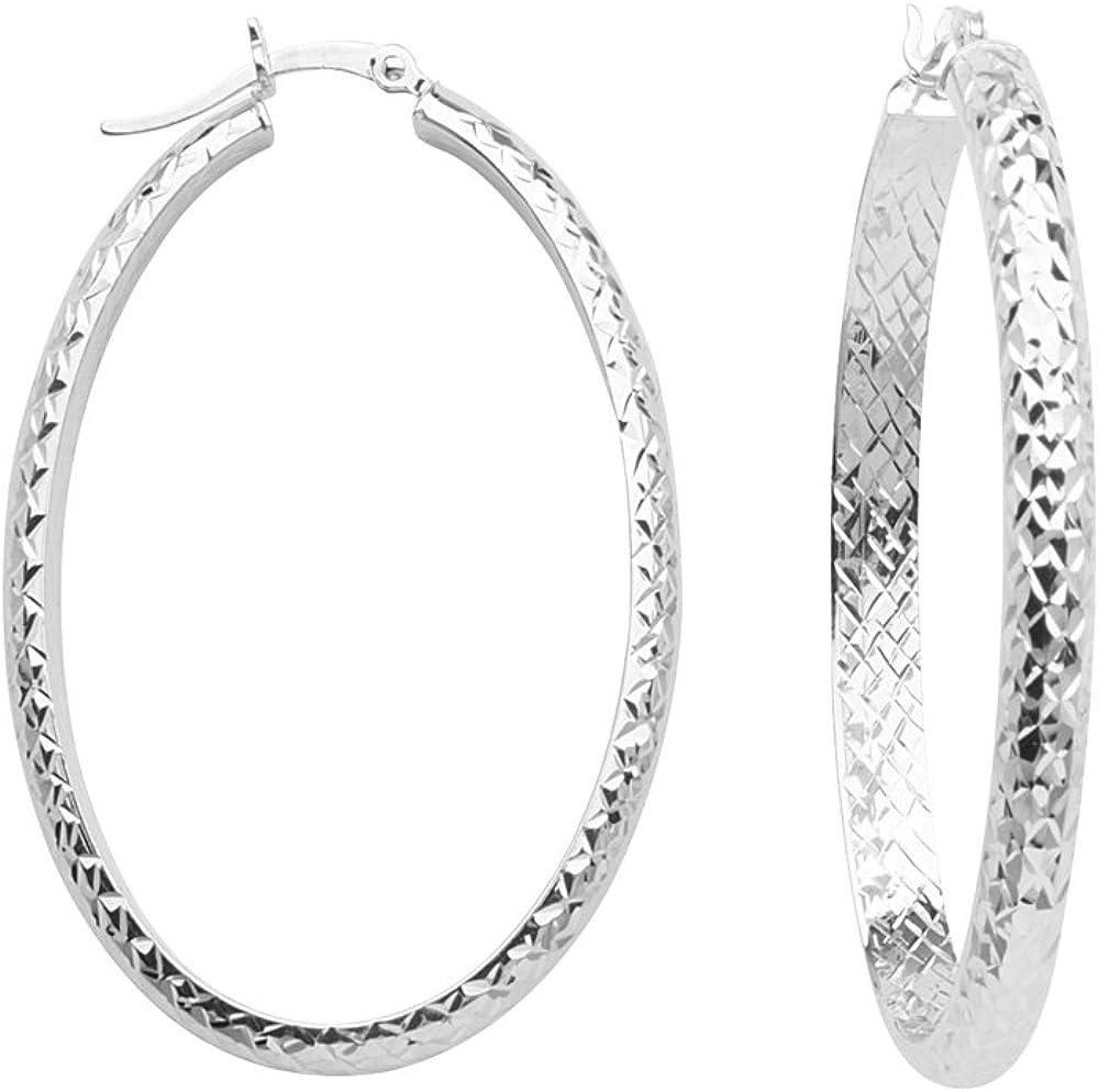Hoop Earrings, 10Kt Gold 4mm 22 X 32mm Full X Diamond Cut Oval Hoop Ear