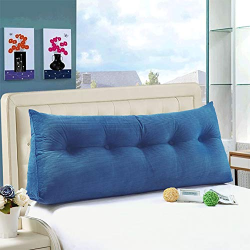 WOWMAX Large Bolster Triangular Wedge and Body Positioners Support Reading Backrest Pillow for Mother's Day Headboard for Day Bed Bunk Bed with Removable Cover RoyalBlue Full