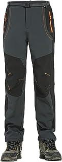 Pantalones Senderismo Impermeables Hombres Soft Shell de Acampada Esquí Ciclismo con Forro Fleece