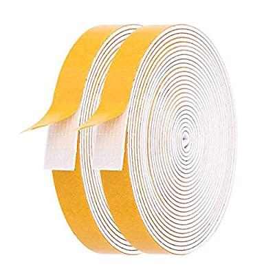 Foam Weather Stripping- 2 Rolls, 1/2 Inch Wide X 1/16 Inch Thick Total 26 Feet Long, White Window Seal Door Frame Insulation Closed Cell High Density Adhesive Foam Tape (13ft x 2 Rolls)