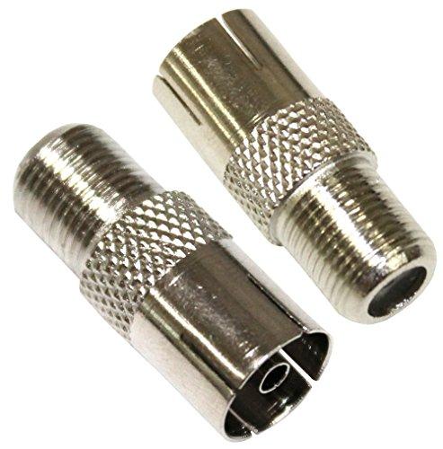 Aerzetix: 2 Adapter coaxial F TV Konverter TV-Antennenanschluss Buchsenstecker F-Stecker auf Koaxial Kupplung Adapter Buchse