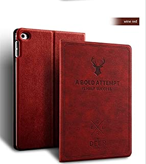 Apple iPad Air 1 & iPad Air 2 Case, Deer Book Pattern Notebook Style Light Weight Design Smart Shell auto Sleep/Wake with Stand Folio PU Leather Hard Cover Case (iPad Air 1 & iPad Air 2, Wine red)