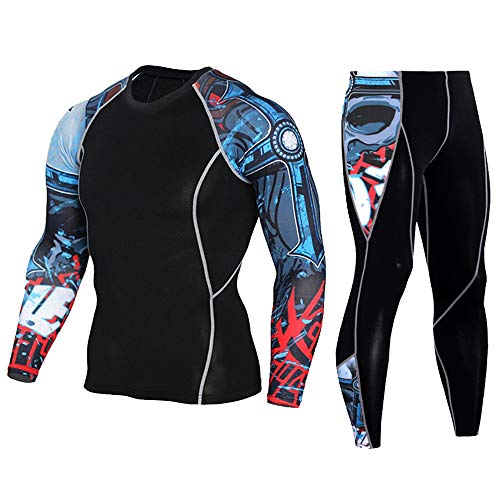 Men's Workout Set Compression Shirt and Pants Top Long Sleeve Sports Tight Base Layer Suit Quick Dry & Moisture-Wicking Red&Blue L