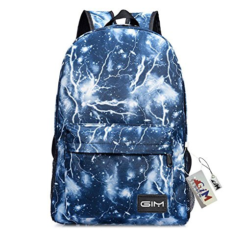 Backpack Bags, GIM Fashion Galaxy Sky Printing Schoolbags College Shoulder Back Pack/School Book Backpack Fits Boys and Girls Teen. (Blue)