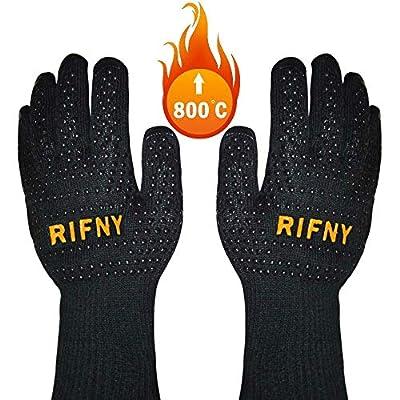 Rifny Grillhandschuhe, Ofenhandschuhe BBQ Hitzeschutz bis zu 800°C Kochenhandschuhe Backhandschuhe rutschfeste Silikonbeschichtung Universalgröße für Grillen,Kochen