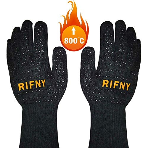 RIFNY Grillhandschuhe, Ofenhandschuhe hitzebeständig bis zu 800°C Kochenhandschuhe Backhandschuhe rutschfeste Silikonbeschichtung Universalgröße für BBQ, Grill, Kochen