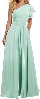 RJOAM Women's One Shoulder Bridesmaid Dress Long Asymmetric Prom Evening Gown