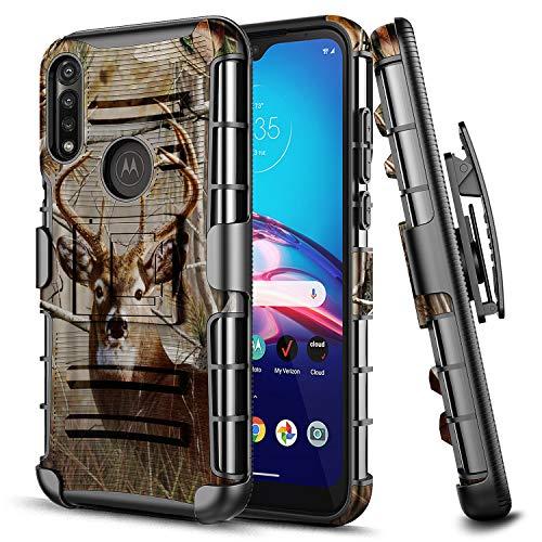 E-Began Case for Motorola Moto G Power (2020 Release), Belt Clip Holster with Kickstand Protective Hybrid Cover Heavy Duty Armor Defender Shockproof Rugged Premium Phone Case -Deer