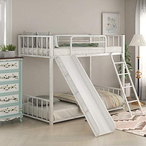 Twin Over Twin Floor Bunk Bed with Slide and Ladder for Kids Metal Low Twin Bunk Bed with Safety product image