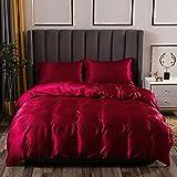 AShanlan - Set di biancheria da letto in raso 155 x 220 cm, tinta unita, copripiumino 100% raso lucido, 1 copripiumino 155 x 220 cm + 1 federa 80 x 80 cm
