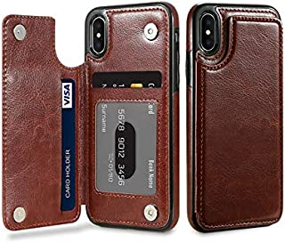 Vertical Flip Card Holder Leather Phone Case for iPhone XS-Brown