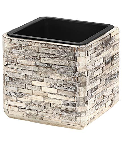 Dehner Premium Luan Pot de Fleurs avec Pot intérieur en Bois/Plastique Beige 22 x 22 x 22 cm