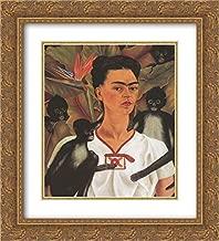 Frida Kahlo 2X Matted 20x24 Gold Ornate Framed Art Print 'Self Portrait with Monkeys'