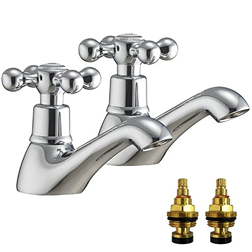Hot And Cold Traditional Victorian Basin Taps With Replacement Cartridges (Viscount 2) by Grand Taps