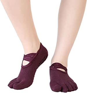 Yiwa 1 Pair Women Yoga Five-toe Socks Quick-dry Anti-slip Breathable Dance Yoga Sports Active Socks