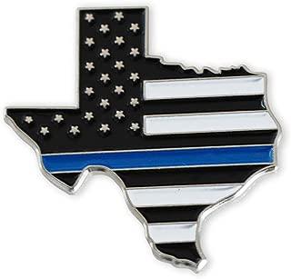 Texas Blue Lives Matter State Shape Blue Line Lapel Pin