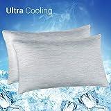 Elegear--Funda de Almohada de Refrescantes, Q-MAX Japonés 0,4 Fibra de Enfriamiento, Funda Protege Almohada de Ambos Lados Suaves Transpirables con Cremallera Oculta, Set de 2(Gris, 40x80cm)