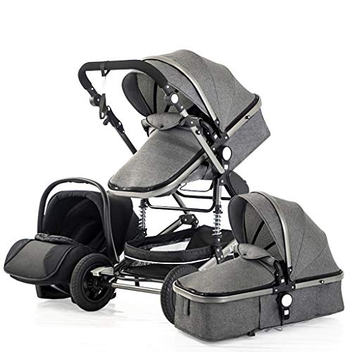STRR 3 in1 Baby Stroller Carriage Compact Pram Strollers (Color : Gray)