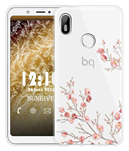 Sunrive Für BQ Aquaris C Hülle Silikon, Transparent Handyhülle Schutzhülle Etui Hülle für BQ Aquaris C(TPU Blume)+Gratis Universal Eingabestift