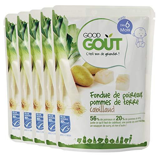 Good Goût - BIO - Fondue de poireaux pommes de terre cabillaud dès 6 mois 190 g - Lot de 5