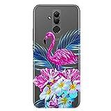 Hpory Kompatibel mit Huawei Mate 20 Lite Hülle, Handyhülle Huawei Mate 20 Lite Malerei Muster Weiche TPU Silikon Transparent Bumper Schale Kratzfest Case Cover Tasche Schutzhülle - Flamingo Blumen