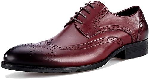 RSHENG Punta de ala de Brogue completa para zapatos de negocios hechos a mano de hombre zapatos Derby transpirables Hilo de coser de moda Estilo clásico zapatos de caballero