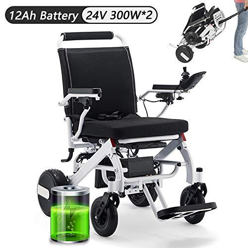 EJOYDUTY Leichtklapp Rollstühle für Erwachsene Elektro-Rollstuhl 23kg / 52lbs Lite Aluminium mit 12Ah Li-Ionen-Akku, 300W x 2 Motor unterstützt 220lbs / 100kg