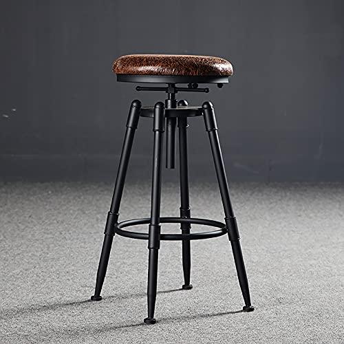 WANGFENG Taburetes de Bar, sillas de Bar, sillas Elevadoras giratorias, taburetes Altos de Madera Maciza, Respaldo de Hierro Forjado, taburetes de Bar para el hogar, Negro Moderno y Simple, 70-90 CM