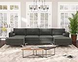 COODENKEY Upholstered U-Shape Sectional Sofa with Double Extra Wide...
