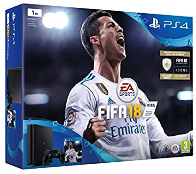 Sony PlayStation 4 1TB Console - Black - FIFA 18 Bundle with FIFA 18 Ultimate Team Icons and Rare Player Pack