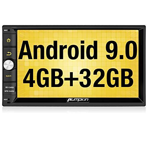 """Pumpkin Android 9.0 Radio 2 DIN GPS de 4GB+32GB, Autoradio Soporte Bluetooth, Control Volante, WiFi, USB, SD, Mirror-Link, 4G, con 7"""" Pantalla táctil"""