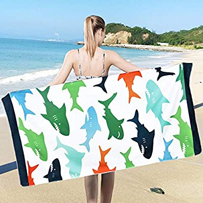 Ikfashoni Premium Shark Beach Towel for Kids, Soft Microfiber Beach Towels Sand Free, Quick Dry Bath Towel for Swimming, Camping and Picnic