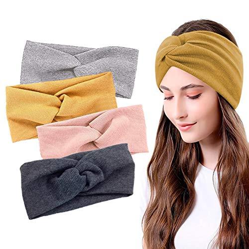 Cyleibe 4 Stück Stirnband damen, Elastische Haarband Damen, Kopftuch Kopfband Stirnband Damen Baumwolle, Knoten Haarbänder für Fahrrad, Sport, Fitness, Laufen, Yoga