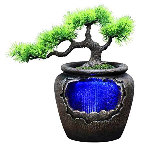 YAOLUU Fuente Agua Feng Shui Creativo Resina Interior Maceta fluir Agua Agua Estatua Estatua Feng Shui 7-Color led Cambio casa jardín simulación artesanía Bonsais Naturales Interior