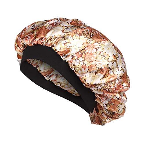 U/K Gorro de dormir de satn Silk Bonnet con banda elstica suave de alta calidad, cmodo para la noche y la prdida de cabello
