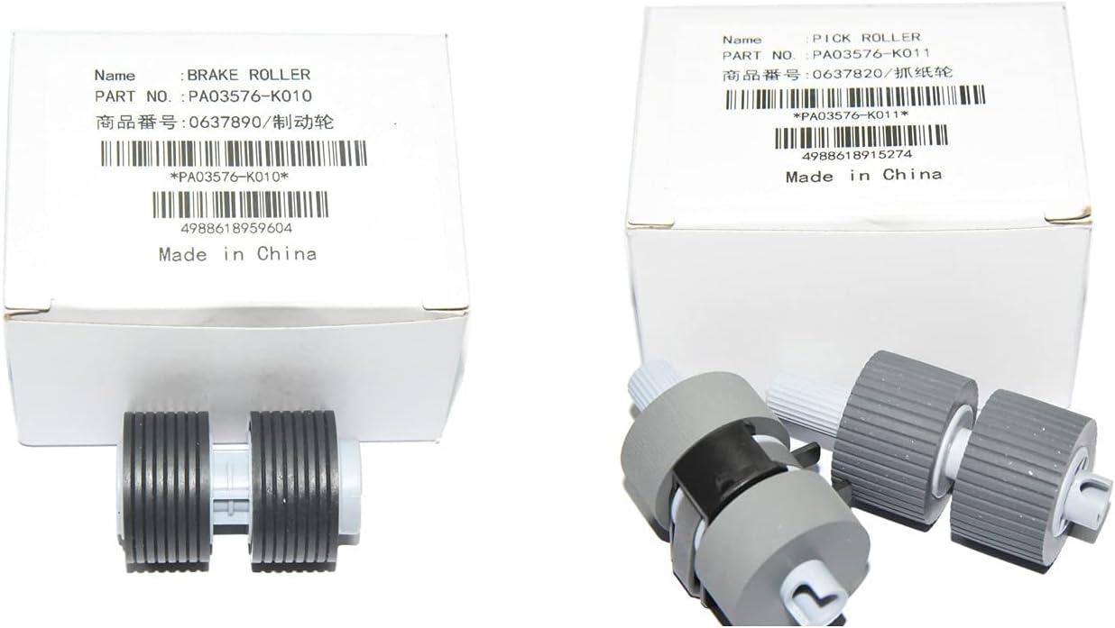 1set PA03338-K011 PA03576-K010 Scanner Brake and Pick Roller Set Compatible with Fujitsui Fi-6770 fi-6670 fi-6770A fi-5750C fi-5650C fi-5750 fi-5650 fi-6750 fi-6750S (1set)