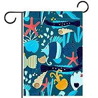 ウェルカムガーデンフラッグ(12x18in)両面垂直ヤード屋外装飾,水中の魚