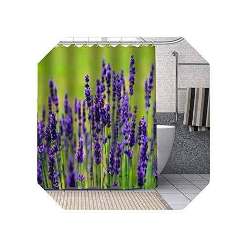 Cool-House Duschvorhang Braun  Lila Lavendel Blumen Duschvorhänge DIY Bad Vorhang Stoff Waschbares Polyester Für Badewanne Art Decor-19-150x200cm