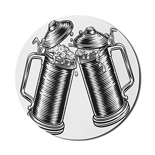 Cerveza alfombrilla de ratón para ordenadores, ilustración monocromática de tazas de jarra de tostado de Oktoberfest alemán, alfombrilla de ratón redonda antideslizante de goma gruesa para jue