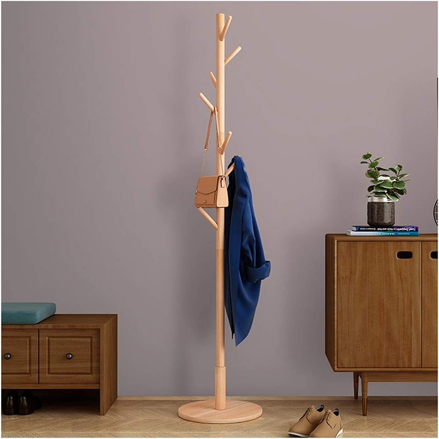 XIAOLONG Standing Coat Rack Wood Jacket Clothes Hat Bag Umbrella Hanging Organiser with Hooks for Hallway Bedroom Tree-Shaped Rack -45 (color   B)