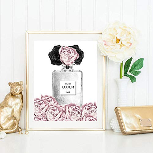 N / A Escandinavo Pink Flower Perfume Fashion Lady Poster Makeup Print Canvas Art Painting Wall Picture Modern Girl Room Decoración del hogar 40x60cm Sin Marco