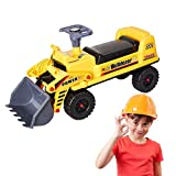 PLAYHOOD Bulldozer Tractor Truck Construction Vehicle Ride-ON for Kids with Excavator Bucket