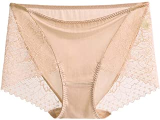 SilRiver Women's 100% Silk Panty Briefs Travel Lace Bikini Underwear Breathable Hipster Underpants