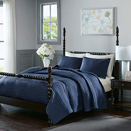 MADISON PARK SIGNATURE Serene King Size Quilt Bedding Set - Navy Blue, Quilted – 3 Piece Bedding Quilt Coverlets – 100% Cotton Voile Bed Quilts Quilted Coverlet