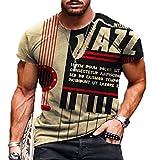 Camisetas con Estampado gráfico de Letras de Jazz para Hombre Camiseta Retro Vintage Camisetas de Manga Corta con tripulación