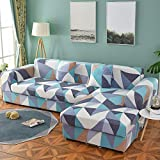 PPMP Funda de sofá geométrica Flexible para Sala de Estar Funda de sofá con Todo Incluido combinación de sofá Modular de Esquina en Forma de L A6 2 plazas