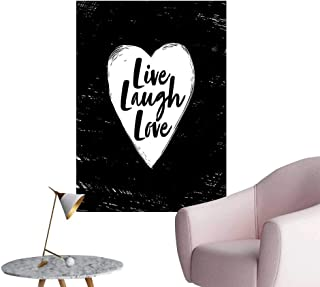 Alexandear Live Laugh Love Waterproof Art Wall Paper Poster Illustration of a Grunge Inspired Heart and a Quote on Black Background Room Bedside Black White W16 x H20