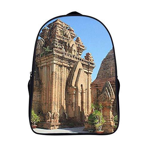 XIAHAILE Kompakte Rucksack Büchertasche für Männer und Frauen, leichter Rucksack für Schul und Urlaubsreisen,Ziegel Cham Türme in Nha Trang Vietnam