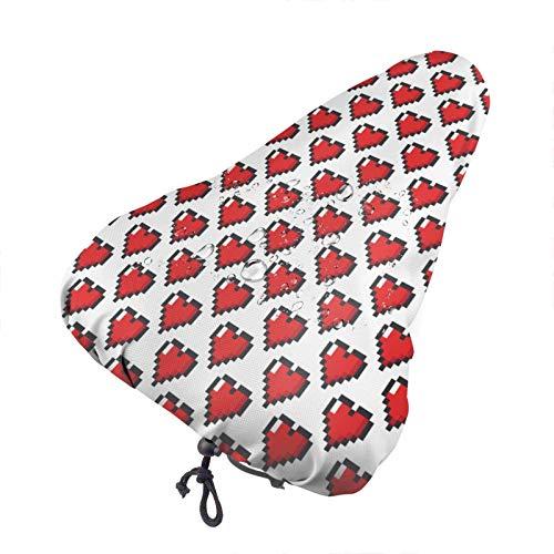 Bong6o Pixeled Hearts - Funda para asiento de bicicleta unisex extra suave y duradera, resistente al agua