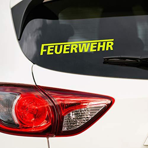 Finest Folia Autoaufkleber Feuerwehr Aufkleber für Auto Motorrad Boot Bus Kfz Zubehör Sticker Selbstklebend Löschen Bergen (Neongelb, 20cm langes F K086)
